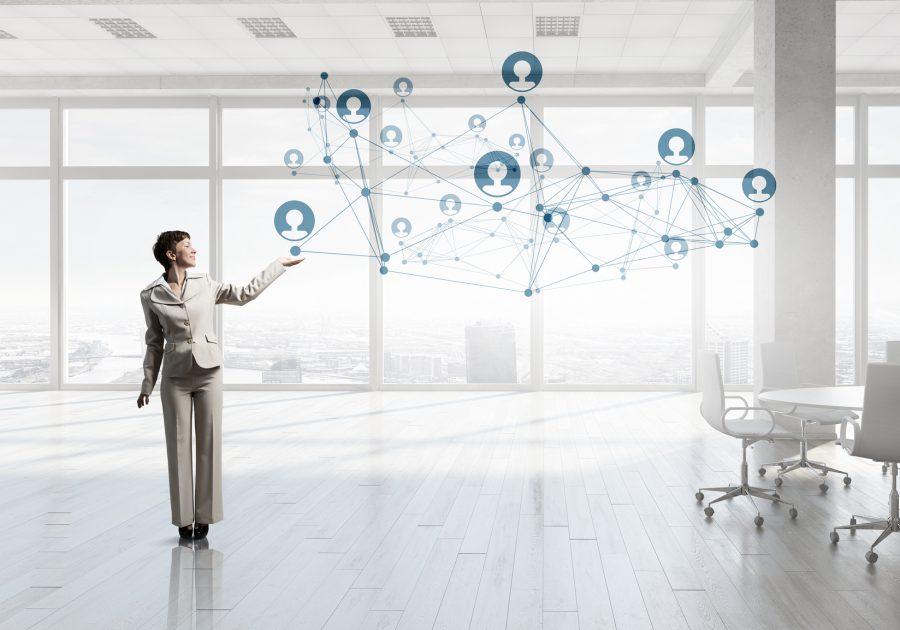 Businesswoman in top floor office
